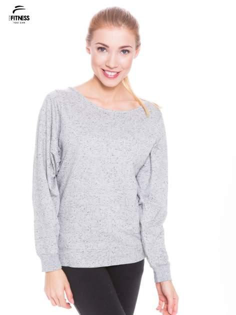 Ciemnoszara melanżowa bluza dresowa z nietoperzowymi rękawami                                  zdj.                                  1