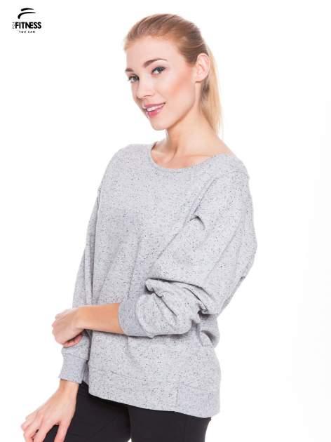 Ciemnoszara melanżowa bluza dresowa z nietoperzowymi rękawami                                  zdj.                                  2