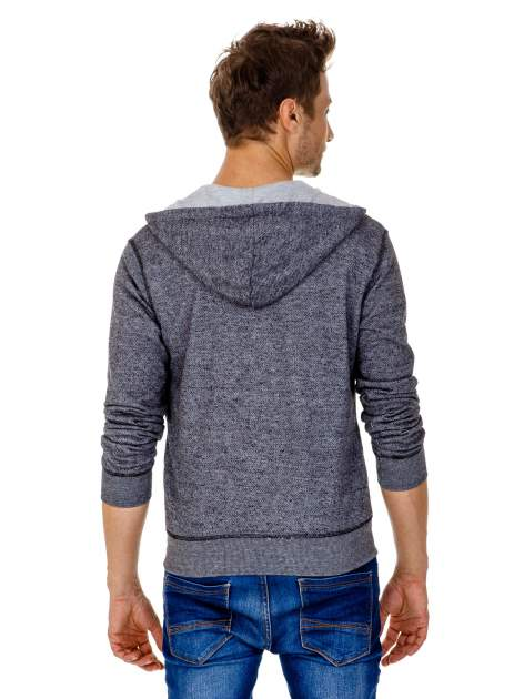 Ciemnoszara melanżowa bluza męska z zasuwanymi kieszeniami                                  zdj.                                  5
