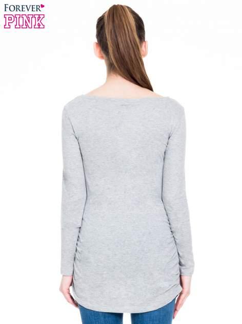 Ciemnoszara melanżowa bluzka tunika z marszczonym dołem                                  zdj.                                  6