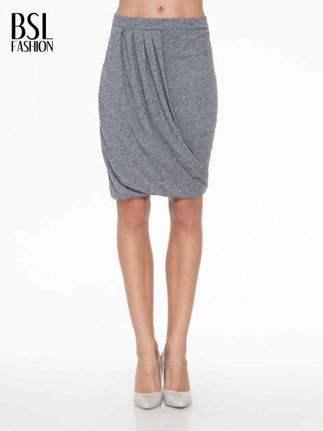 Ciemnoszara melanżowa spódnica z drapowaniem