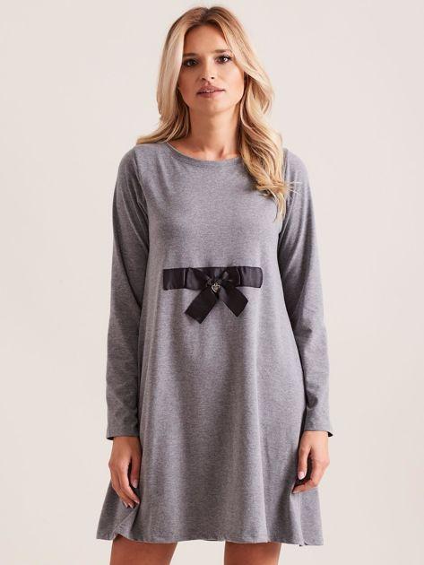 Ciemnoszara sukienka bawełniana z kokardą                              zdj.                              1