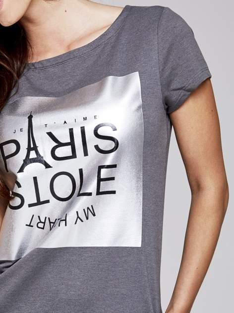 Ciemnoszara sukienka dresowa ze srebrnym printem PARIS                                  zdj.                                  5