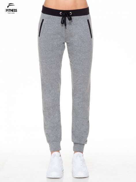 Ciemnoszare spodnie dresowe z kontrastowym pasem i kieszeniami