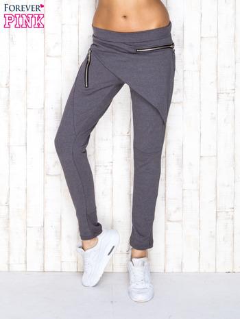 Ciemnoszare spodnie dresowe z suwakami                                  zdj.                                  1