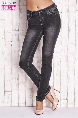 Ciemnoszare spodnie jeansowe regular jeans