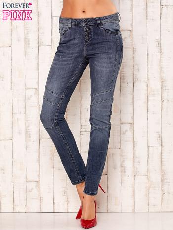 Ciemnoszare spodnie jeansowe z przeszyciami                                  zdj.                                  1