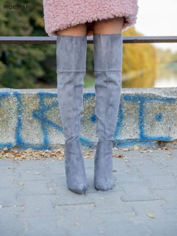 Ciemnoszare zamszowe kozaki na szpilkach za kolano                                  zdj.                                  1