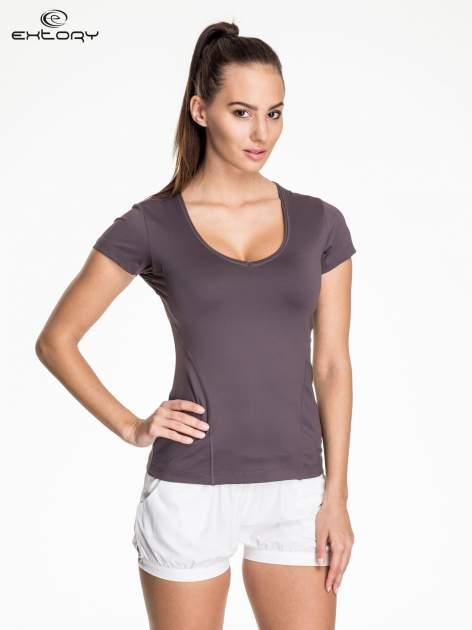 Ciemnoszary damski t-shirt sportowy z dekoltem U