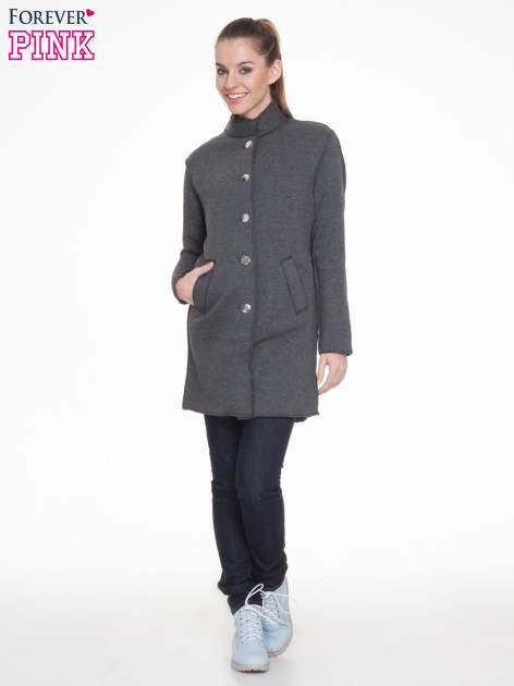 Ciemnoszary dresowy płaszcz o kroju oversize                                  zdj.                                  2