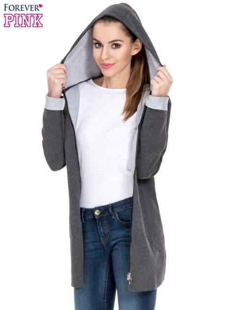 Ciemnoszary dresowy płaszcz oversize z kapturem                                  zdj.                                  5