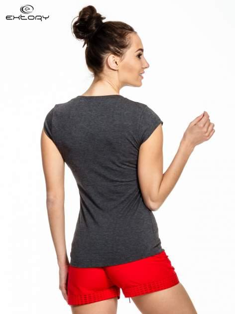 Ciemnoszary melanżowy damski t-shirt sportowy basic                                  zdj.                                  3