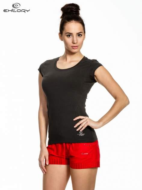 Ciemnoszary melanżowy damski t-shirt sportowy basic                                  zdj.                                  1