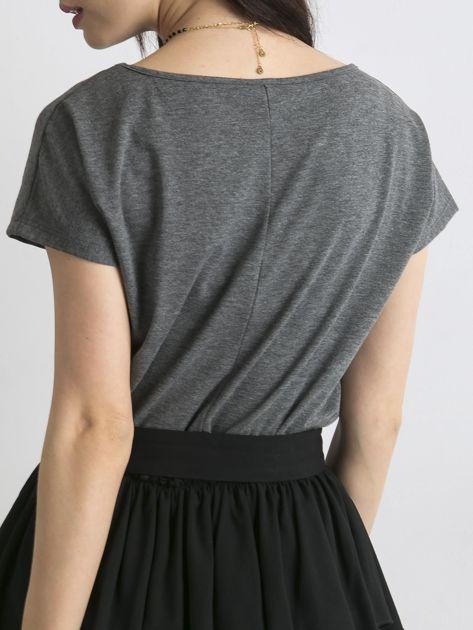 Ciemnoszary melanżowy t-shirt Circle                              zdj.                              2