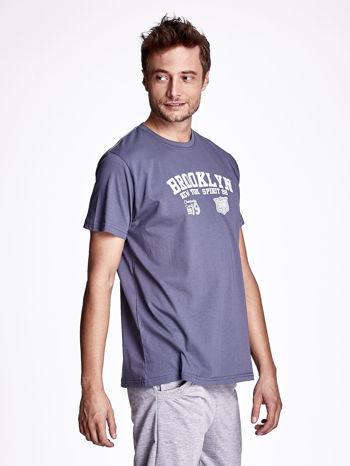 Ciemnoszary t-shirt męski z napisami BROOKLYN NEW YORK SPIRIT 86                                  zdj.                                  3