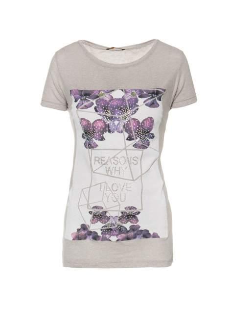 Ciemnoszary t-shirt z kwiatowym nadrukiem zdobionym dżetami                                  zdj.                                  1