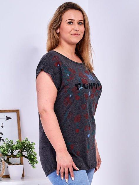 Ciemnoszary t-shirt z printem PLUS SIZE                              zdj.                              3