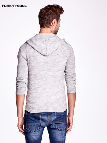 Ciemnoszary wełniany sweter męski z kieszenią z przodu FUNK N SOUL                                  zdj.                                  4
