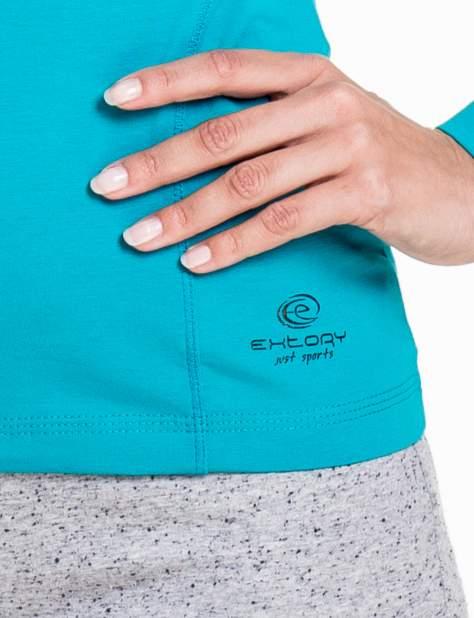 Ciemnoturkusowa bluzka sportowa z dekoltem V                                  zdj.                                  5