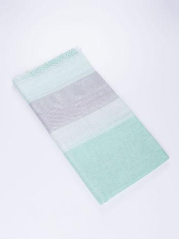 Ciemnozielona bawełniana chusta duża w pasy                                  zdj.                                  2