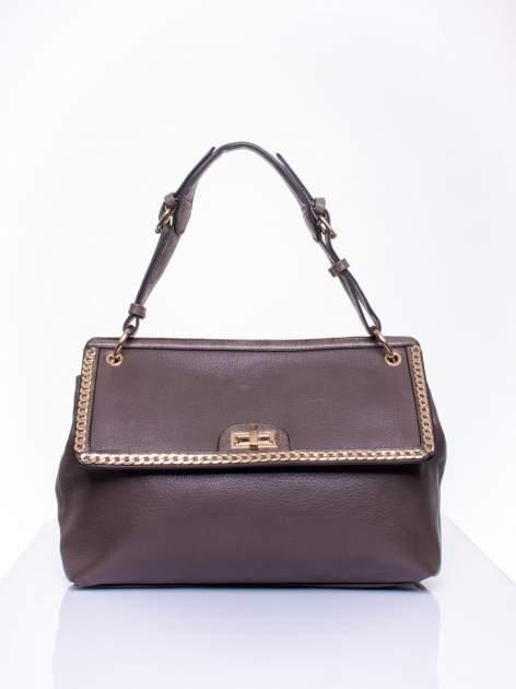 Ciemnozielona torebka kuferek ze złotym łańcuszkiem                                  zdj.                                  1