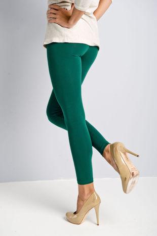 Ciemnozielone legginsy bawełniane z gumką w pasie                                  zdj.                                  4