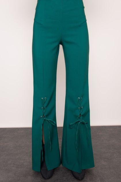 Ciemnozielone spodnie dzwony BSL