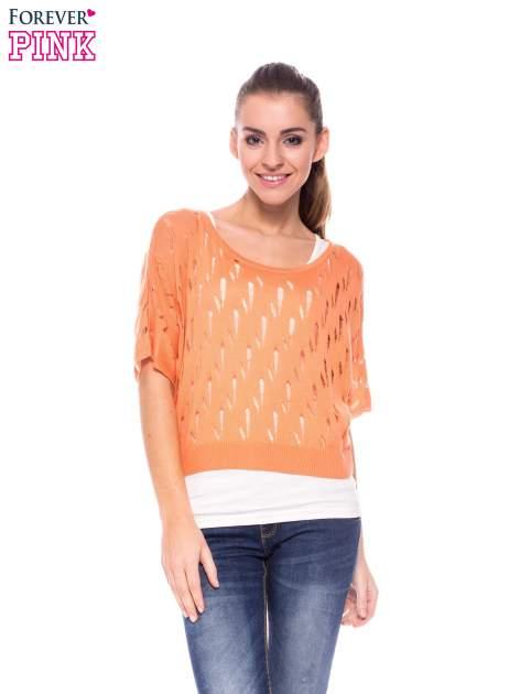 Ciemnożółty krótki ażurowy sweterek                                  zdj.                                  1