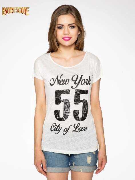 Ciemnyecru t-shirt z napisem NEW YORK CITY OF LOVE 55                                  zdj.                                  10