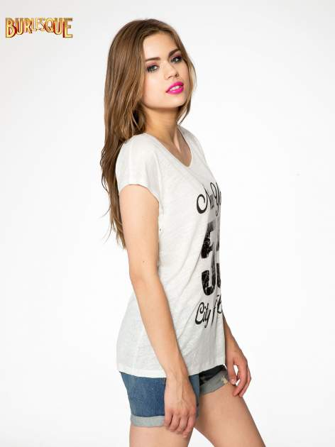 Ciemnyecru t-shirt z napisem NEW YORK CITY OF LOVE 55                                  zdj.                                  3