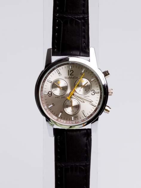 Cudny srebrny zegarek damski z ozdobnym tachometrem                                  zdj.                                  2