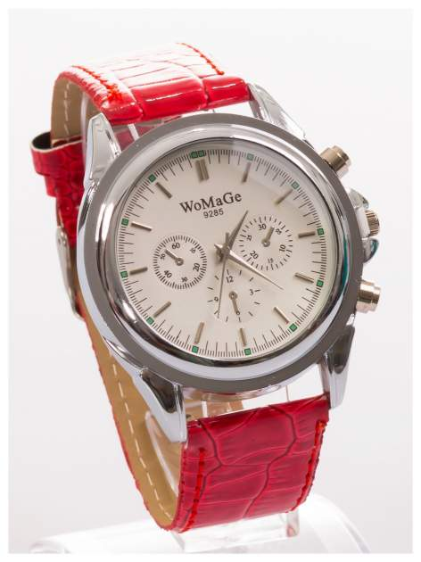 Cudny zegarek damski na czerwonym pasku                                  zdj.                                  3