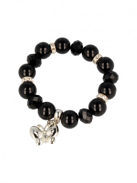 Czarna Bransoletka koralikowa z zawieszką w kształcie motylka                                  zdj.                                  2