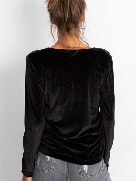 Czarna aksamitna bluza ze srebrnym nadrukiem                                  zdj.                                  3