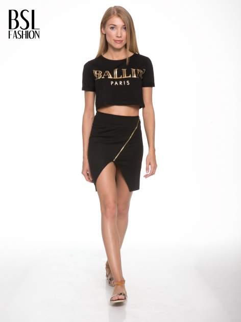 Czarna asymetryczna spódnica ze złotym zamkiem                                  zdj.                                  2