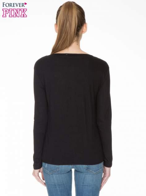 Czarna bawełniana bluzka z gumką na dole                                  zdj.                                  4