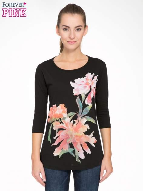 Czarna bawełniana bluzka z motywem kwiatowym                                  zdj.                                  1