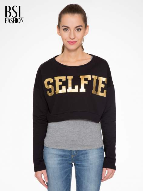 Czarna bluza cropped ze złotym napisem SELFIE                                  zdj.                                  1
