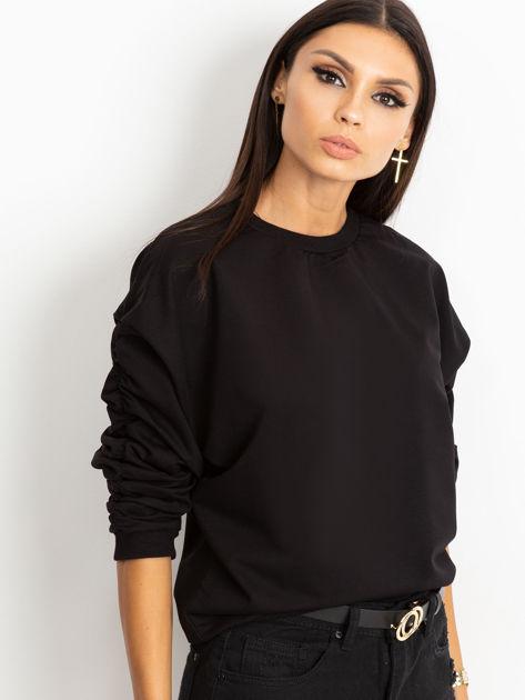 Czarna bluza damska z marszczonymi rękawami                              zdj.                              3