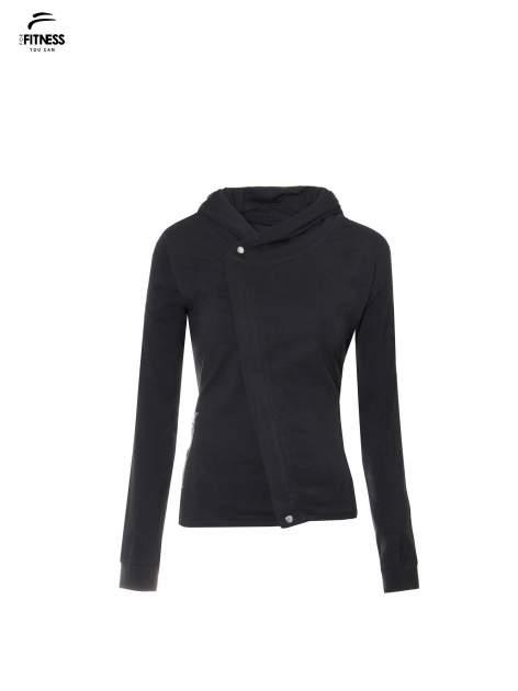 Czarna bluza dresowa z asymetrycznym suwakiem i kapturem                                  zdj.                                  5