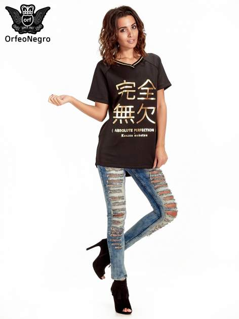 Czarna bluza glamour ze złotymi znakami japońskimi                                  zdj.                                  7