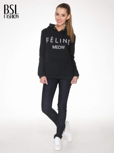 Czarna bluza kangur z kapturem i nadrukiem FÉLINE MEOW                                  zdj.                                  2
