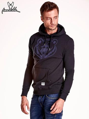 Czarna bluza męska z kapturem i zwierzęcym nadrukiem                                  zdj.                                  4