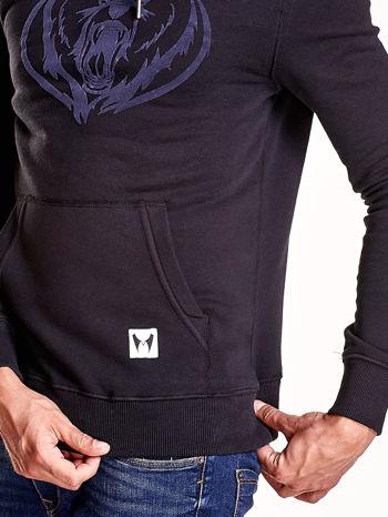 Czarna bluza męska z kapturem i zwierzęcym nadrukiem                                  zdj.                                  7