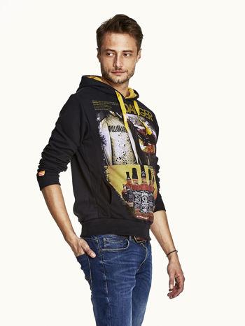 Czarna bluza męska z kapturem z napisem DANGER                                  zdj.                                  3
