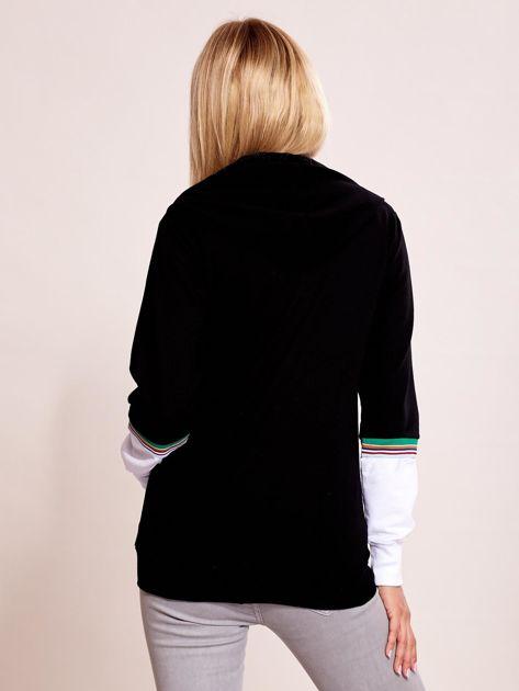 Czarna bluza na zamek z kontrastowymi wstawkami                              zdj.                              2