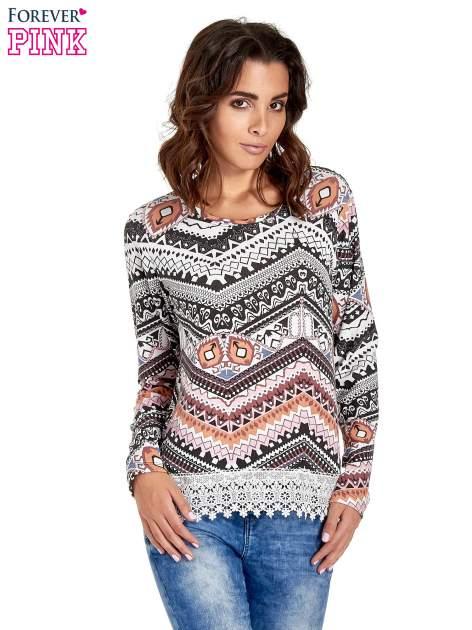 Czarna bluza w azteckie wzory z koronką                                  zdj.                                  1