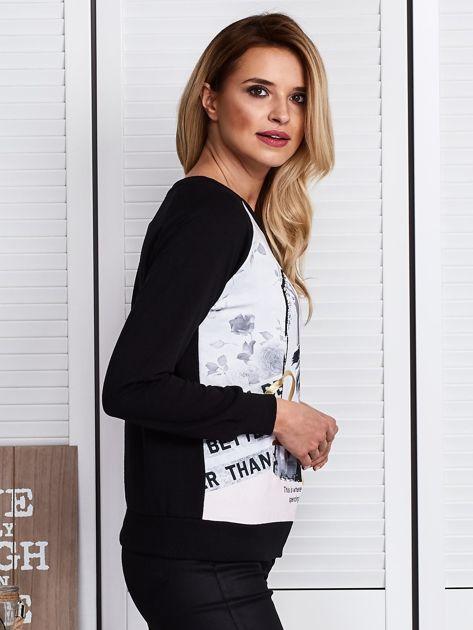 Czarna bluza z motywem dziewczyny                              zdj.                              3