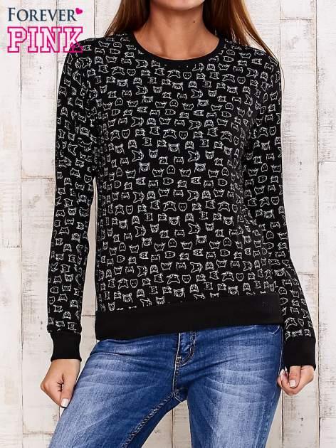 Czarna bluza z nadrukiem kotów                                  zdj.                                  1