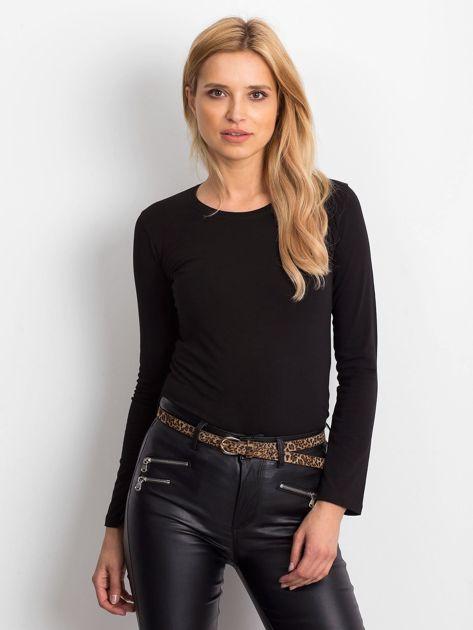 Czarna bluzka basic z długim rękawem                              zdj.                              1